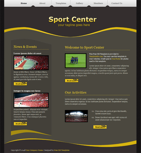 Free Sports Website Templates | TeamTracTemplate's
