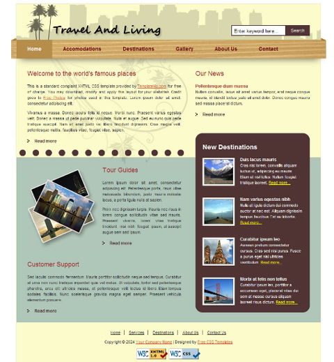 free web template - travel and living