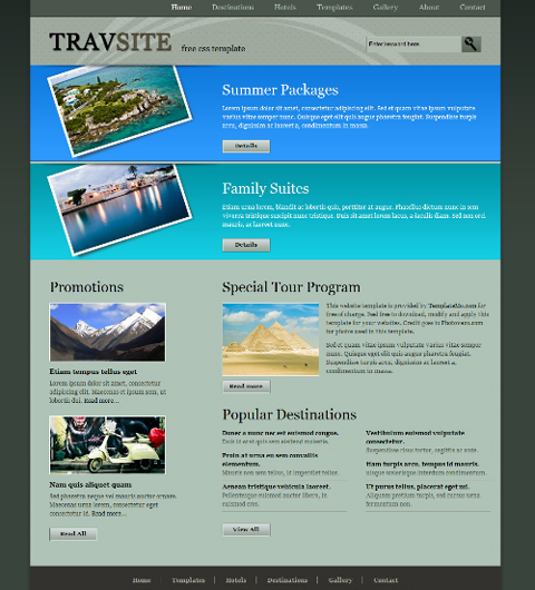 free web template - travel site