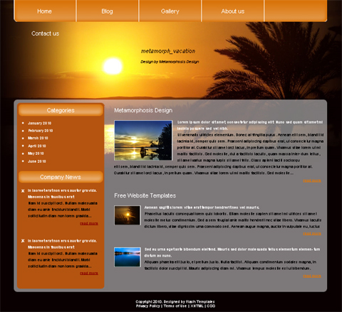 free web template - vacation