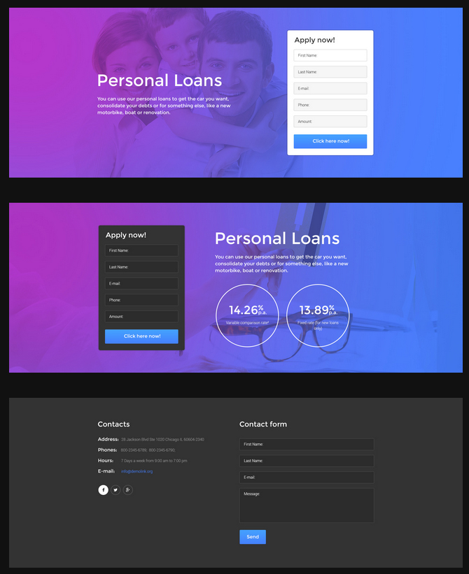 landing page predefined blocks